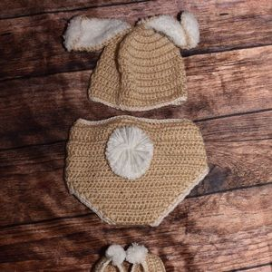 3 pc Bunny Crochet outfit